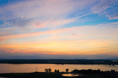 Sunset by the Mississippi. Picture of the sunset from a rooftop by the Mississippi river in Memphis royalty free stock photography