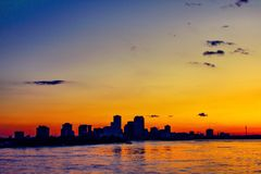 sunset on the Mississippi river by boat stock photo