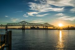 Sunset at the Mississippi River levee in downtown Baton Rouge stock images