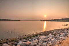 Sunset on the Missouri River stock photography