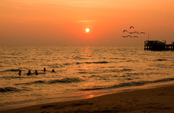 Sunset in mist on the beach Royalty Free Stock Images