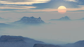 Sunset in the misty mountains stock video footage