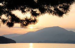 Sunset at Miyajima Bay Stock Photo