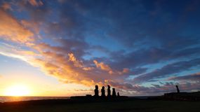Sunset on the moai of Easter Island, Chile royalty free stock photo
