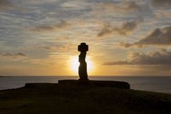Sunset Moai, Ko Te Riku, Easter island, Chile stock photo