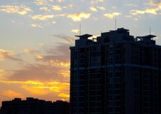 Sunset modern apartments buildings in Shanghai Royalty Free Stock Images