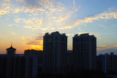 Sunset modern apartments buildings in Shanghai Royalty Free Stock Photos