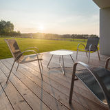 Sunset on modern patio Stock Photos