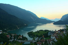 Sunset in Molveno Royalty Free Stock Photos