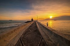 The sunset moment at Bintan wonderful Indonesia royalty free stock photography