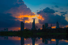 Sunset moment at riverside of Ho Chi Minh City - The biggest city in Vietnam. Beautiful cityscape photo of Ho Chi Minh City riverside Royalty Free Stock Photo