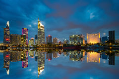 Sunset moment  at riverside of Ho Chi Minh City - The biggest city in Vietnam. Beautiful cityscape photo of Ho Chi Minh City Royalty Free Stock Photo
