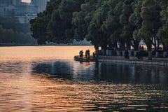 Sunset moments of Xuanwu Lake stock photo