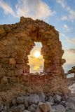 Sunset at Monolithos castle, Rhodes island, Greece stock photos