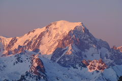 Sunset on Mont Blanc. Evening kinde on Mont Blanc Royalty Free Stock Images