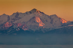 Sunset on Mont Blanc Stock Photo