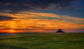 Sunset at Mont Saint Michel Abbey Royalty Free Stock Images