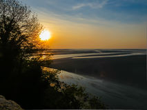 Sunset in the Mont Saint-Michel bay, France Stock Image