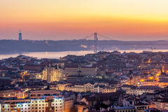 Sunset from the Monte Agudo viewpoint in Lisbon, capital of Portugal Royalty Free Stock Photos