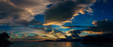 Sunset in Montenegro over the mountains and the sea. Orange sunsets Stock Photography
