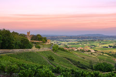 After the sunset, Montmelas castle, Beaujolais, France Stock Photography