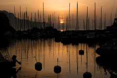 Sunset in Montreux port, Switzerland royalty free stock photo
