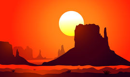 Sunset on Monument Valley (Arizona)-Vector Royalty Free Stock Photography