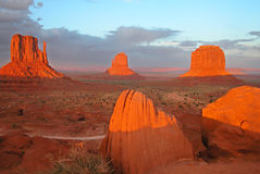 Sunset in Monument Valley National Park, 2004. A gorgeous August sunset in Monument Valley, 2004 Royalty Free Stock Image