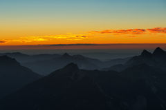 Sunset mood in austrian mountains Stock Photos