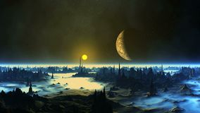 Sunset and the Moon over Alien Planet. On a dark starry sky bright distant sun moves towards the horizon. The moon in the penumbra. Gloomy cliffs with sharp stock illustration