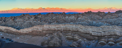 Sunset in the Moon Valley in the Atacama Desert, Chile Royalty Free Stock Images