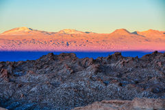 Sunset in the Moon Valley in the Atacama Desert, Chile Stock Photography