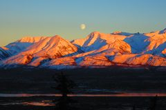 Sunset & Moonrise Royalty Free Stock Photo