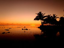 Sunset on Moorea. French Polynesia, South Pacific Royalty Free Stock Images