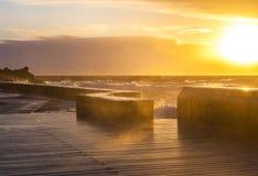 Sunset at Mornington Pier on stormy weather Stock Photos