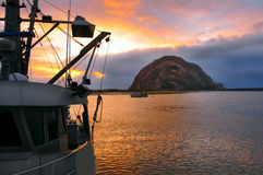 Sunset on Morro Bay, California Stock Photography