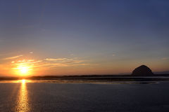 Sunset on Morro Bay Harbor, California Royalty Free Stock Photo