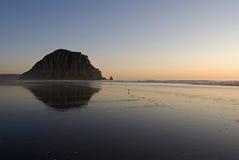 Sunset on Morro Beach with Shore Birds Royalty Free Stock Photos