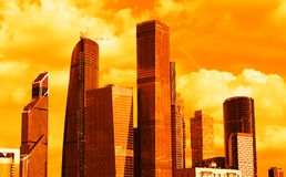 Sunset Moscow city business center background. Hd Royalty Free Stock Image