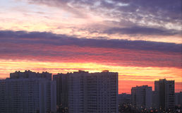 Sunset in Moscow district Stock Photo