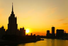 Sunset on Moscow-river Stock Photos