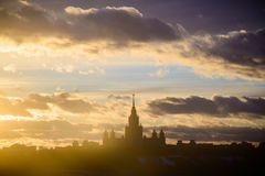 Sunset Moscow State University Royalty Free Stock Image