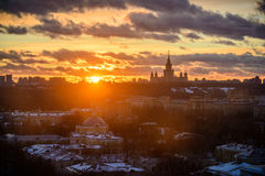 Sunset Moscow State University Royalty Free Stock Images