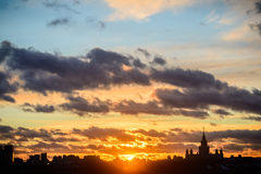 Sunset Moscow State University Royalty Free Stock Photography