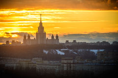 Sunset Moscow State University Stock Images
