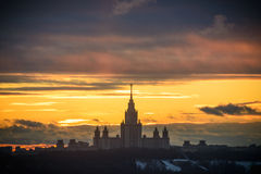 Sunset Moscow State University Stock Image