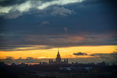 Sunset Moscow State University Royalty Free Stock Photo