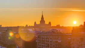 Sunset Moscow State University in winter timelapse stock video