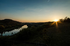 Sunset at the mosel Stock Photos