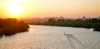 Sunset on a Moskva River. In Moscow Royalty Free Stock Photography